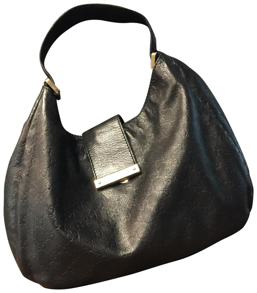 4109ac7f018dce Gucci XL Gg Slouchy Monogram Guccissima Web Black Leather Hobo Bag ...