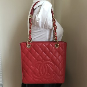 Chanel Caviar Gold Hw Pst Shopper Tote in red