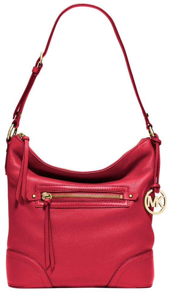 71e81d9889892 Michael Kors Fallon Large North South Hobo Zip Purse Chili Red ...
