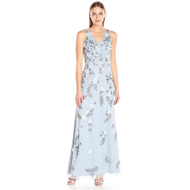 Item - Blue Heather Beaded Gown with 3d Petals and Plunging V-neckline Long Short Casual Dress Size 10 (M)