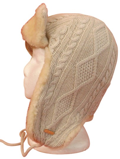 Preload https://img-static.tradesy.com/item/24255773/tory-burch-beige-oatmeal-melange-cable-knit-trapper-genuine-shearling-hat-0-3-540-540.jpg