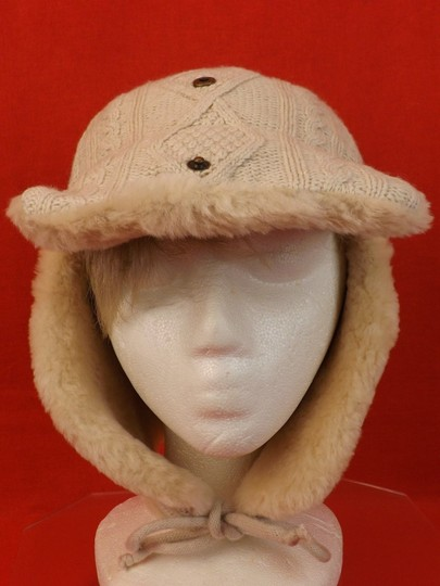 Tory Burch OATMEAL MELANGE CABLE KNIT TRAPPER GENUINE SHEARLING HAT $175