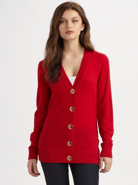 Tory Burch Golden Winter Merino Longsleeve Cardigan
