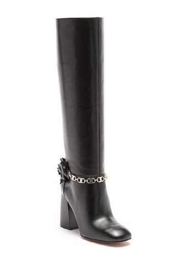 Tory Burch Blossom Flowers Leather Black Boots