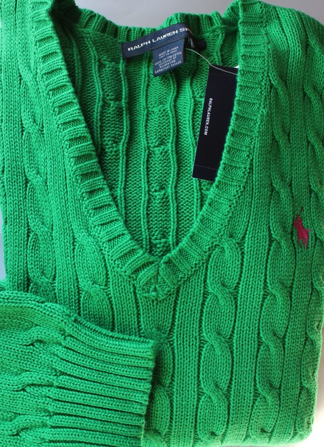 Preload https://img-static.tradesy.com/item/24255822/ralph-lauren-v-neck-cable-cotton-athletic-green-sweater-0-4-650-650.jpg