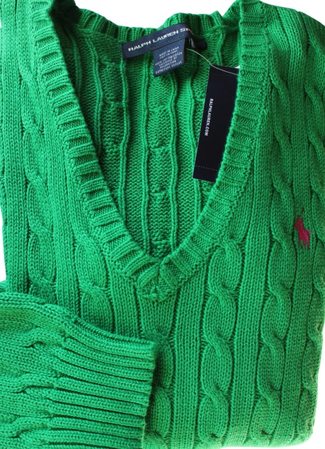 Preload https://img-static.tradesy.com/item/24255822/ralph-lauren-v-neck-cable-cotton-athletic-green-sweater-0-5-650-650.jpg