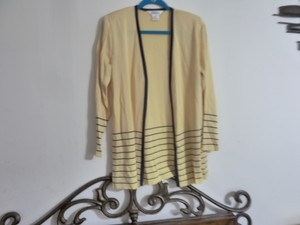 Misook Light Weight Open Front Striped Botton Area Lt Padded Shoulder Sweater