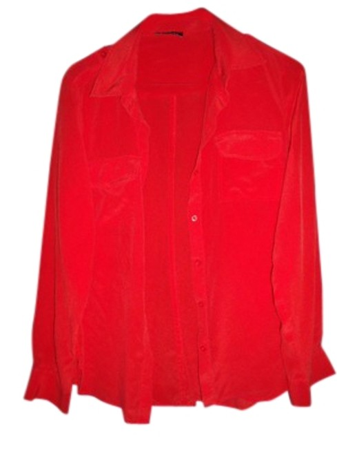 Preload https://img-static.tradesy.com/item/24255887/bebe-fiery-red-silk-semi-sheer-long-sleeve-shirt-button-down-top-size-8-m-0-1-650-650.jpg