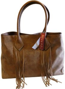 Merona Boho Trendy Fall Fringe Tote in Dark Tan