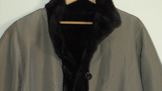 J. PERCY FOR MARVIN RICHARDS Reversible Brown/Tan Button Front Fur Coat