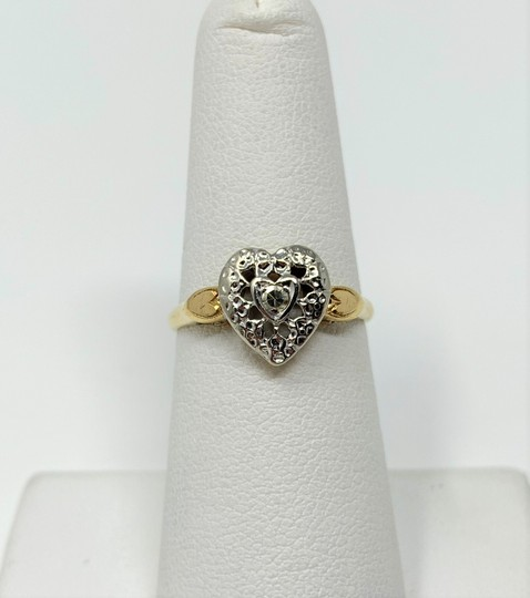 Preload https://img-static.tradesy.com/item/24255946/14k-yellow-and-white-gold-vintage-11ct-diamond-heart-shaped-size-ring-0-2-540-540.jpg