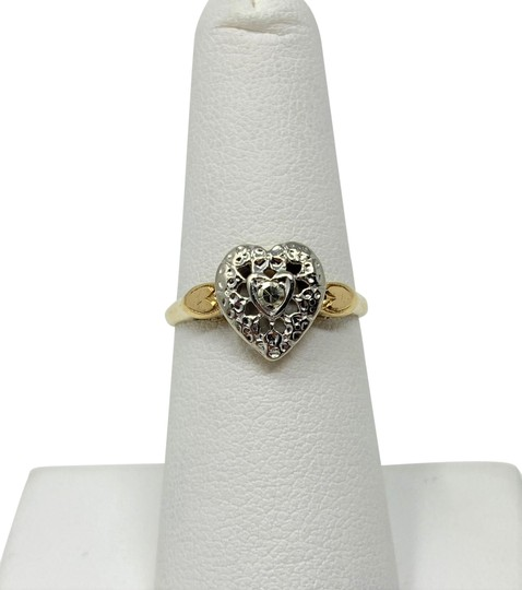 Preload https://item2.tradesy.com/images/14k-yellow-and-white-gold-vintage-11ct-diamond-heart-shaped-size-ring-24255946-0-3.jpg?width=440&height=440