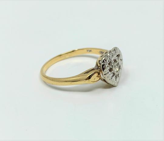 Other 14k Yellow and White Gold Vintage .11ct Diamond Heart Shaped Ring Size