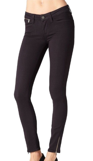 Paige Deep Red Plum Ankle Zip Stretch Skinny Jeans-Dark Rinse