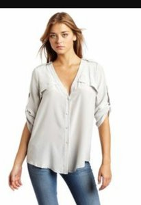 BCBGMAXAZRIA Drew Button Down Shirt Gray
