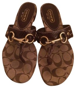 Coach Brown Crocodile With Golden Hardware Sandals