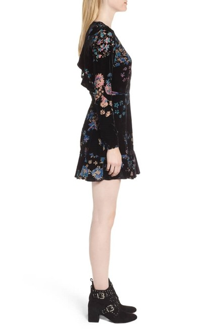 Rebecca Minkoff short dress Black Floral Velvet Mini Cutout Open on Tradesy