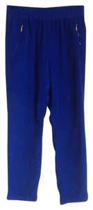 Zara Blue Sapphire Blue Gold Zippers Gold Accessories Work Clothes Trouser Pants Blue Sapphire