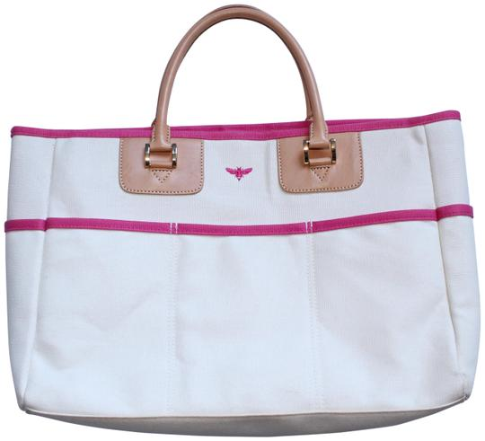 Preload https://img-static.tradesy.com/item/24256136/white-pink-tan-canvas-vachetta-leather-tote-0-3-540-540.jpg