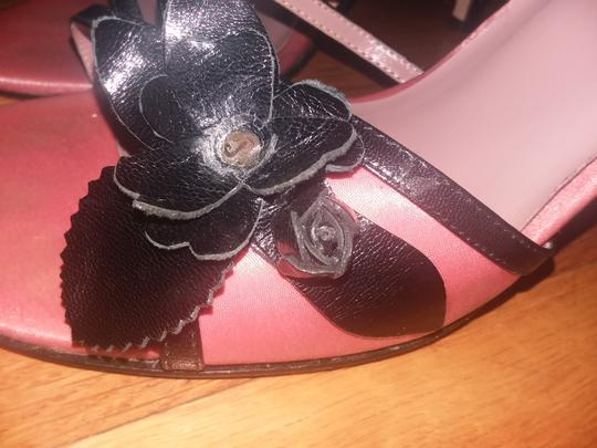 Nordstrom Leather Strappy Sateen Satin Black/Pink Sandals