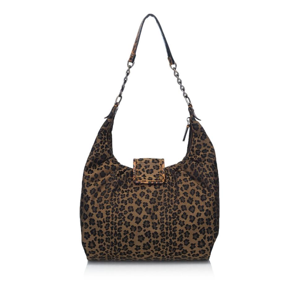177f636796cd Fendi Leopard-printed B. Brown Fabric X Canvas X Leather X Others Hobo Bag  - Tradesy
