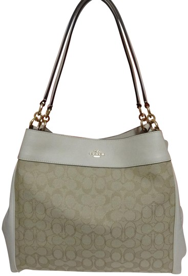Preload https://img-static.tradesy.com/item/24256318/coach-lexy-outline-signature-light-khaki-and-chalk-canvas-leather-shoulder-bag-0-4-540-540.jpg