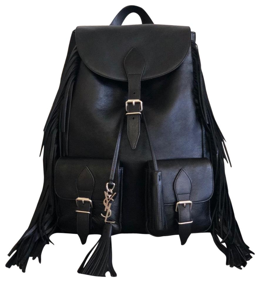 cf7180295ee Saint Laurent Ysl Calfskin Fringe Festival Black Backpack - Tradesy