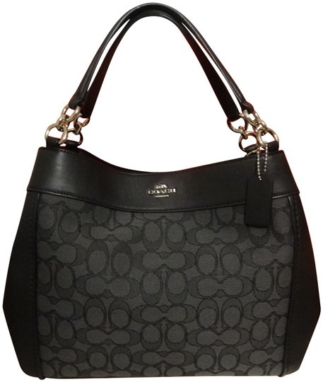 Preload https://item4.tradesy.com/images/coach-lexy-outline-signature-small-black-canvas-and-leather-shoulder-bag-24256328-0-3.jpg?width=440&height=440