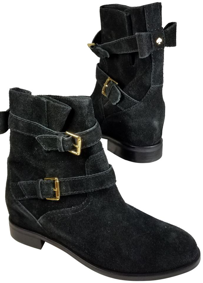 d6ed40996ef Kate Spade Black Sabina Buckle Bow Suede Ankle Boots Booties Size US ...