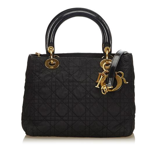 Preload https://img-static.tradesy.com/item/24256348/dior-lady-dior-black-fabric-x-nylon-satchel-0-0-540-540.jpg