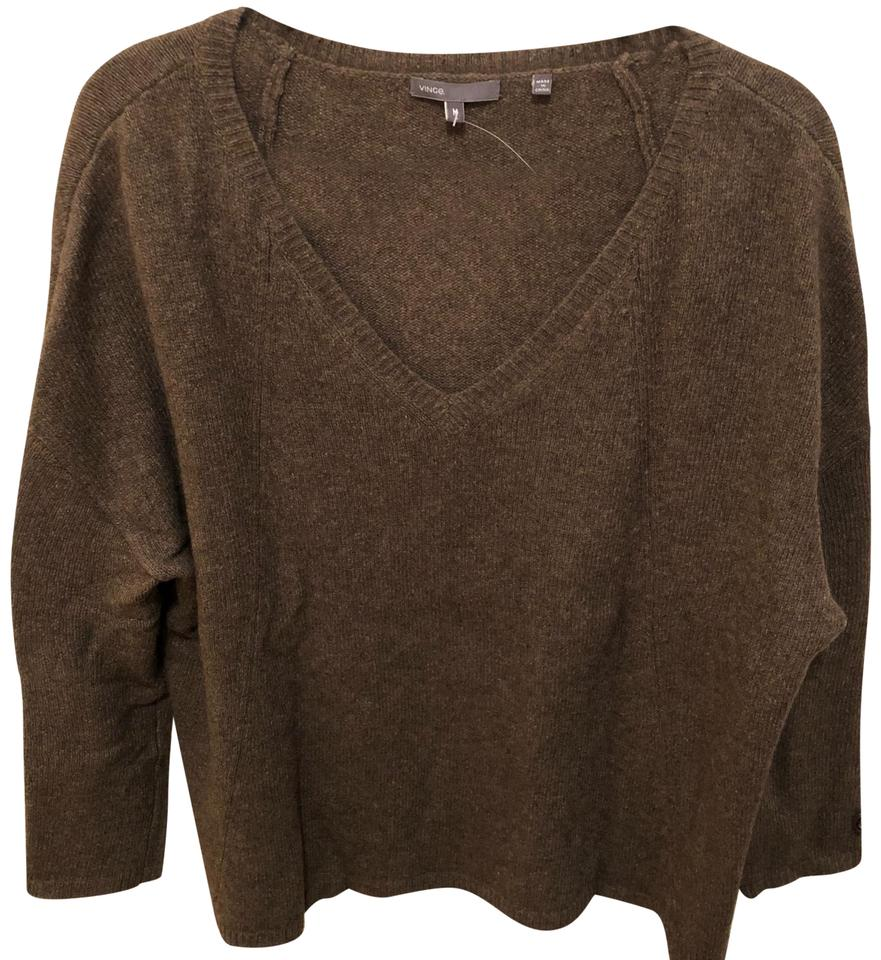 6cef145e2f1 Vince Wool Oversized V-neck Brown Sweater 78% off retail
