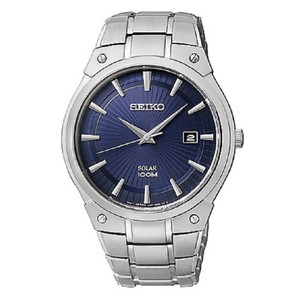 Seiko New Seiko Men's Silvertone Blue Dial Solar Dress Watch