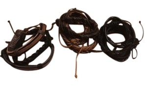 None Faux Leather Braided Bracelets