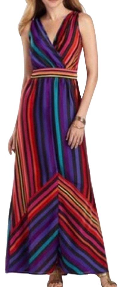 elegant shoes huge sale new style Worthington Colorful Striped Long Casual Maxi Dress Size 8 (M ...