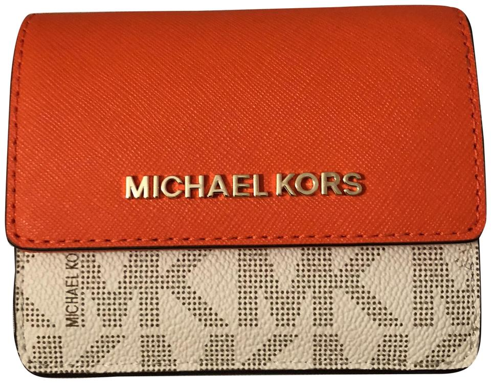9142b95bf5bd Michael Kors Michael Kors Jet Set Leather Card Case ID Key Holder Wallet  Image 0 ...