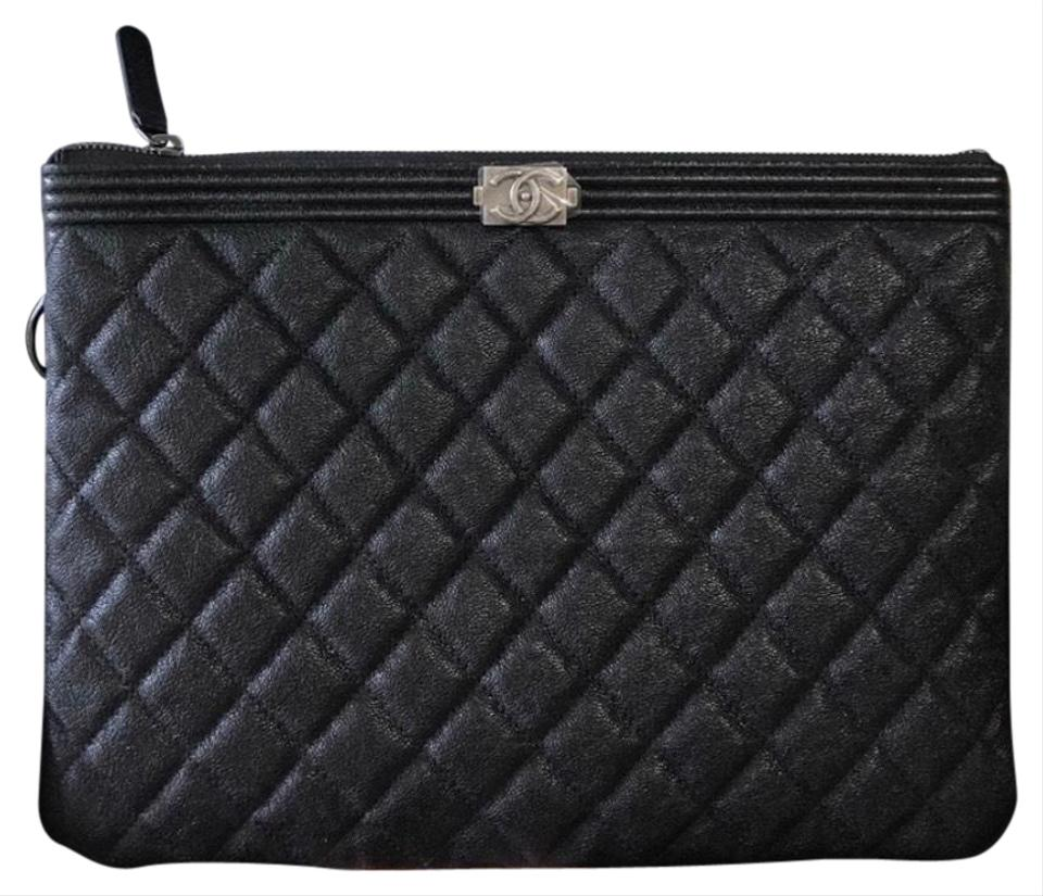 209f439bd2d8 Chanel Boy O Case Caviar Leather Black Clutch - Tradesy