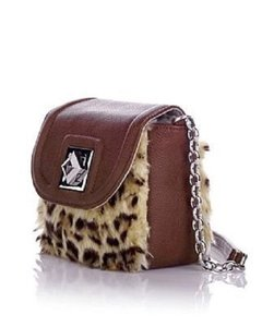 Adrienne Landau Faux Fur Animal Print Fabric Lining Flap Open Cross Body Bag