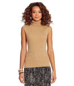 Vince Camuto Mock Neck Ribbed Sleeveless Sweater