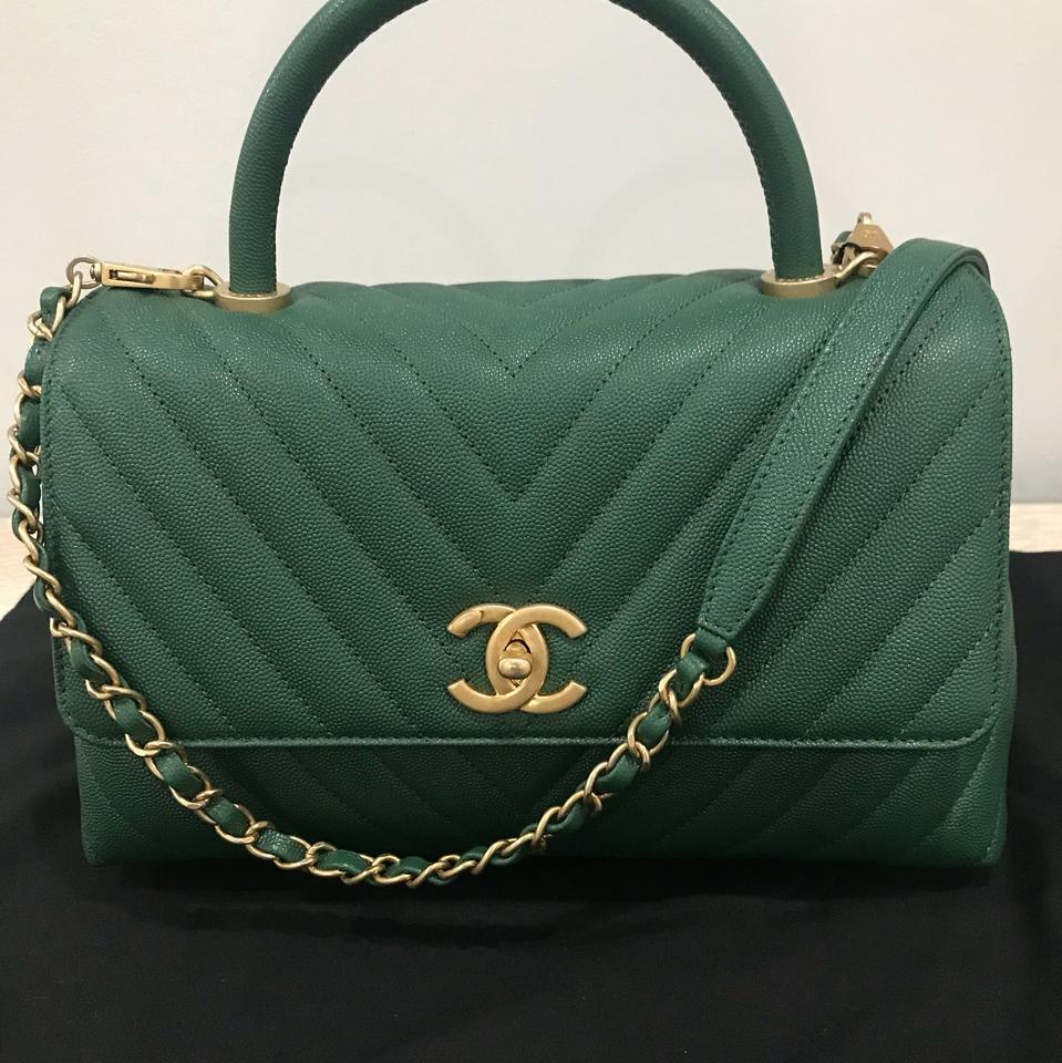 06575ae8392c Chanel Flap with Top Handle A92991y837065b177 Dark Green Grained ...