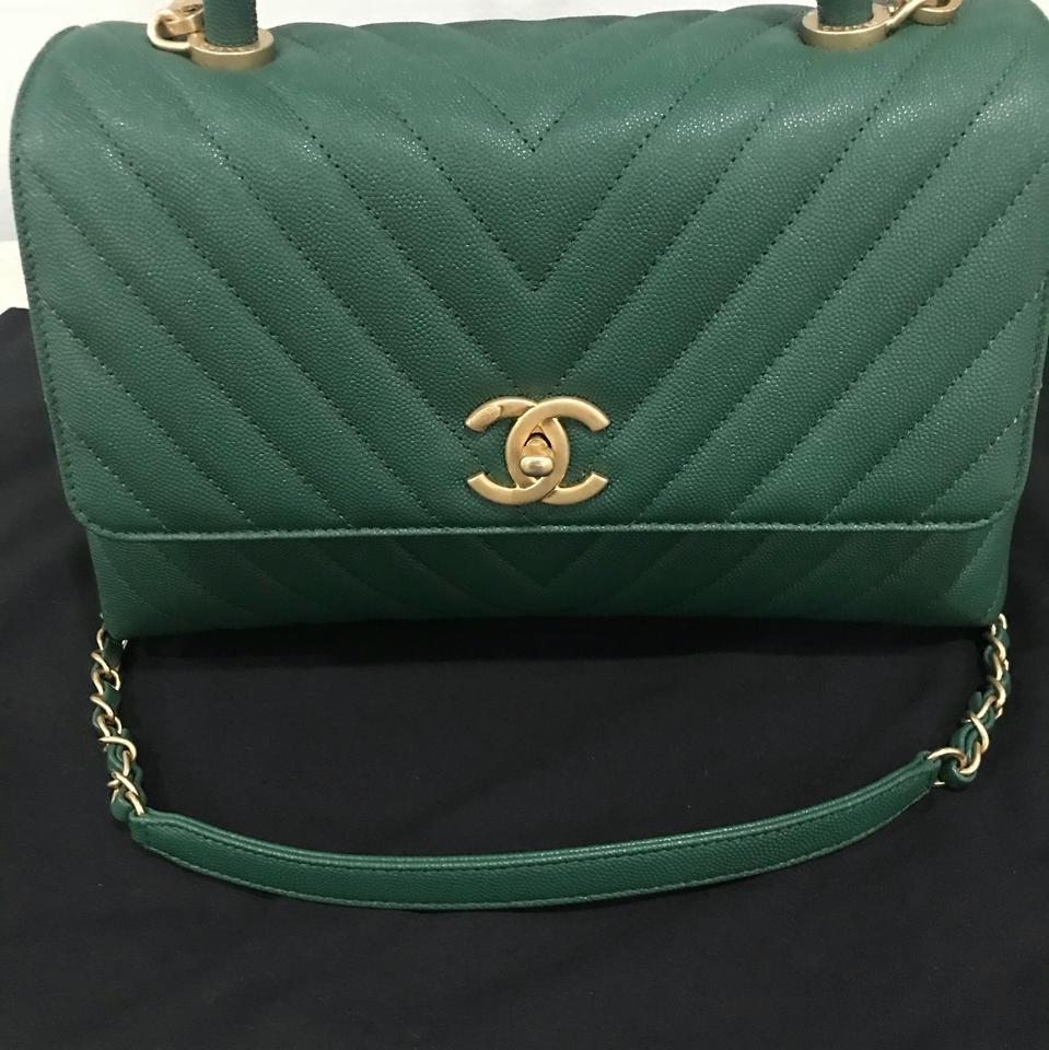 148d84835830 Chanel Flap with Top Handle A92991y837065b177 Dark Green Grained Calfskin  (Caviar) & Gold-tone Metal Shoulder Bag - Tradesy