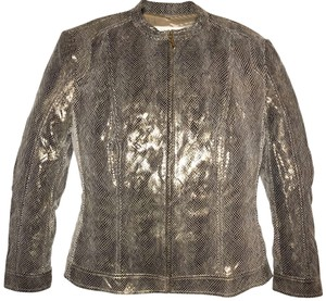 Escada Metallic Gold Leather Jacket