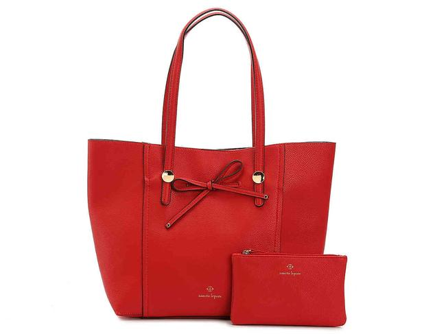 Item - Satchel Red Faux Leather Tote