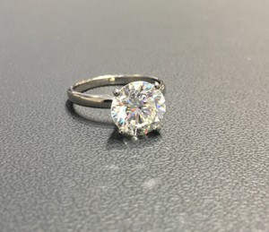 White Gold 3 Ct Round F-vs2 Solitaire Diamond 14k Engagement Ring