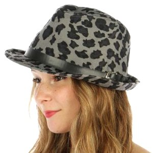 0957cf6b0a9 Other New Leopard belted fedora hat Grey