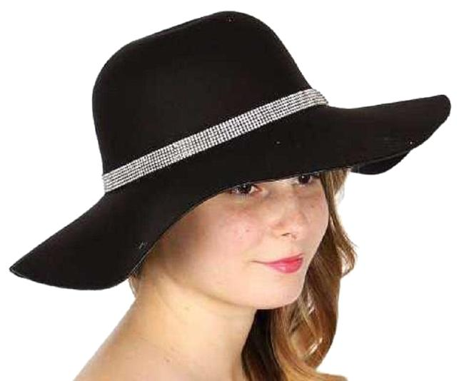 Item - Black New Cotton Blend Floppy with Rhinestone Band Hat