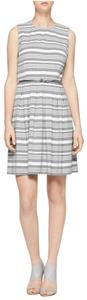 Calvin Klein Strapless Fit And Flare Striped Dress