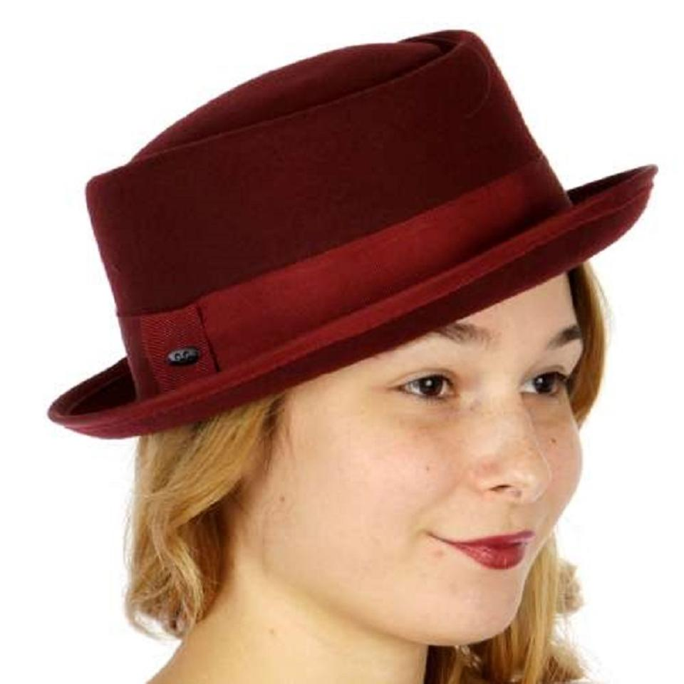f42e066ead0 sophie New Wool pork pie hat with grosgrain band adjustable Image 0 ...