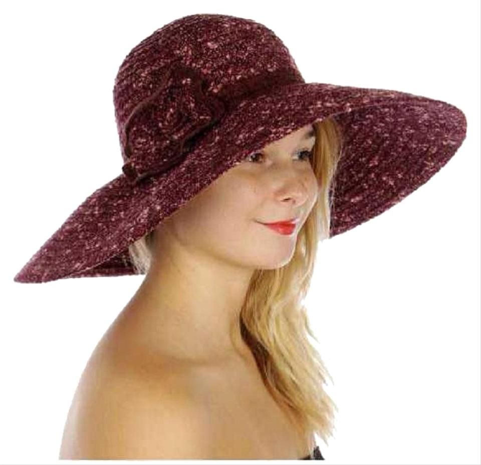 a5a377053 Burgandy New Corsage Woven Floppy Hat