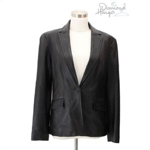 BCBGMAXAZRIA J1 BCBG MAX AZRIA Designer Jacket Size 6 100% Leather Black Long Sleev