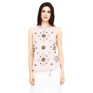 Club Monaco Floral Beaded Embellished Top blush, pink, silver